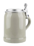 Stoneware Beer Mug with Pewter Lid