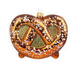 Oktoberfest Salted Pretzel Glass Christmas Ornament