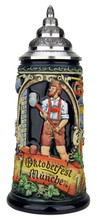 Traditional Oktoberfest German Beer Stein with Pewter Lid