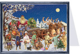 Victorian Santas Sleigh Ride German Advent Calendar Christmas Card