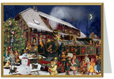 Victorian Christmas Train Station German Christmas Card