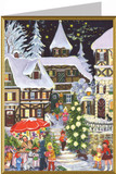 German Village with Christmas Tree Christmas Card