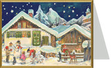 Alpine Village Snowman German Christmas Card