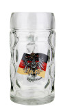 German Eagle Flag Crest Dimpled Oktoberfest Glass Beer Mug 0.5 Liter