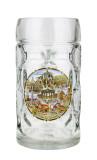 German Landmarks Dimpled Oktoberfest Glass Beer Mug 0.5 Liter