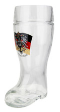 Authentic Glass Beer Boot with German Flag and Eagle