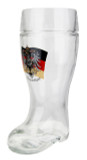 German Eagle Flag Crest Glass Beer Boot 1 Liter