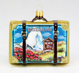 Suitcase Glass Christmas Ornament with Switzerland Depiction