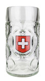 Swiss Cross Dimpled Oktoberfest Glass Beer Mug 1 Liter