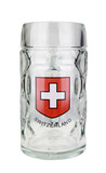 Swiss Cross Dimpled Oktoberfest Glass Beer Mug 0.5 Liter