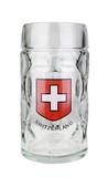 ".5 Liter Dimpled Glass Beer Mug with Swiss Cross & ""Switzerland"""