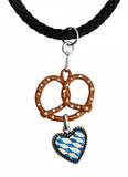 Pretzel with Heart German Pewter Dirndl Necklace