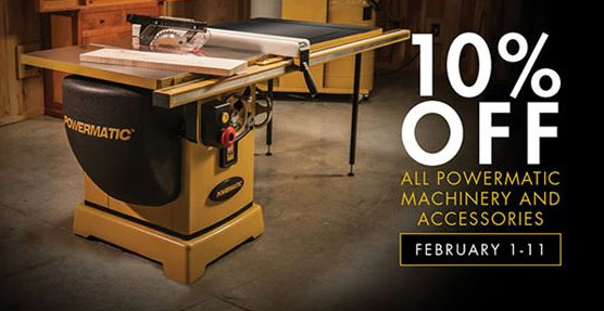 10% OFF All Powermatic Machinery and Accessories - February 1-11