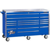Extreme Tools EX7217RCBL 72 In 17 Drawer Triple Bank Professional Roller Cabinet - Blue