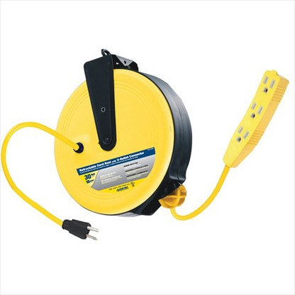 Voltec 07-00282 30 ft. SJTW 3-Outlet Retractable Reel easily converts one outlet into three outlets allowing you to plug multiple applications at once.
