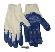 Broner Blue Rubber Palm Gloves 12 (1 Dozen) Pair