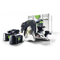 Festool 201371 HKC 55 Cordless AirStream Track Saw PLUS in combination with the FSK cutting rail, provide a new miter-saw system for more independence and combines precision and efficiency with a high level of user-friendliness, optimized ergonomics and ease of use