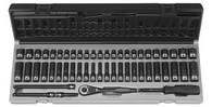 Grey Pneumatic 89653CRD Fractional Metric Impact Socket Set Standard 1/4 In Drive