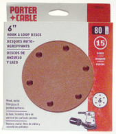Porter Cable 736601825 6 in. 6-hole 180 Grit Hook and Loop Sanding Disc - 25 Pack