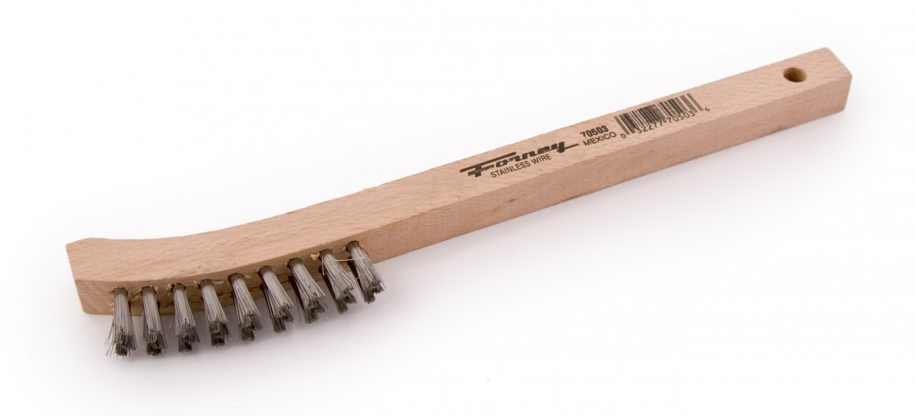 Forney 70503 Wood Handle Stainless Steel Wire Curved Scratch Brush