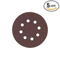 "Bosch SR5R040 Hook and Loop 40-Grit 5"" 8-Hole Sanding Discs 5 Pack"
