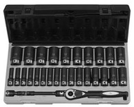 "Grey Pneumatic 82629MD 1/2"" Drive 6-Pt Deep Metric Duo Socket Set 29 Pc"