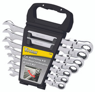 Titan 17360 7 Piece SAE Flex Head Ratcheting Combination Wrench Set
