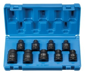 Grey Pneumatic 1319ET 1/2 In Drive External Torx Socket Socket Set