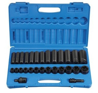 Grey Pneumatic 1328RD 1/2 In Drive Standard & Deep Fractional Socket Set