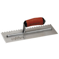 Marshalltown 15820 11 X 4 1/2 Notched Trowel 3/8 X 3/8 SQ With Curved DuraSoft Handle