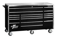Extreme Tools EX7217RCBK 72 In 17 Drawer Triple Bank Professional Roller Cabinet - Black