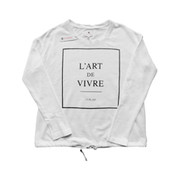 L Art Tie Long-Sleeve Top in White | Sundry at Fire and Shine | Womens Long-sleeve Tops
