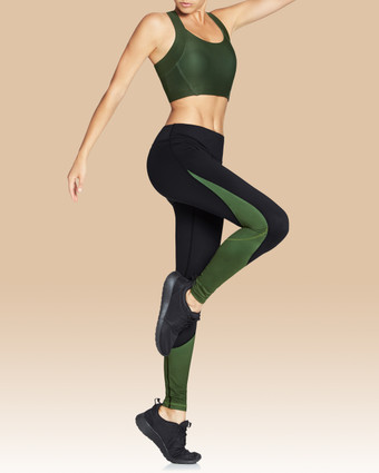 Taryn Full Length Tights Black/Olive | Vie Active at Fire and Shine | Leggings