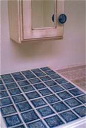 ​Recycled Glass Tiles and Cabinet Door Pulls for Bathroom Vanity Makeover