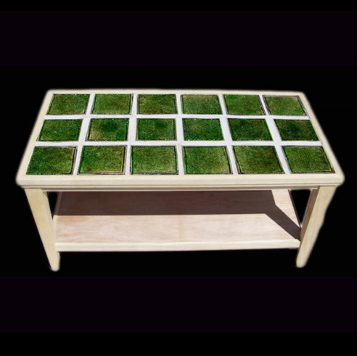Wood Coffee Table With Crackle Glass Tile Tabletop