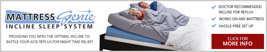 Mattress Genie Incline Sleep System provides users with the doctor recommended incline to get relief from symptoms associated with Acid Reflux, GERD, Heartburn