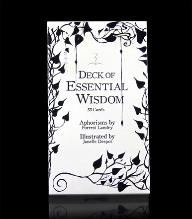 Deck of Essential Wisdom - 33 cards to gain insight, meditate, stimulate philosophical discussion - Aphorisms by Forrest Landry - Illustrated by Janelle Despot - shot of the cardboard storage case - Magic-Flight