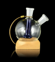 Stained Glass Orbiter featuring a Cobalt blue down-stem with a Maple base - Ideal for colorfully cooling vapor from your Launch Box or Muad-Dib Concentrate Box - Magic-Flight