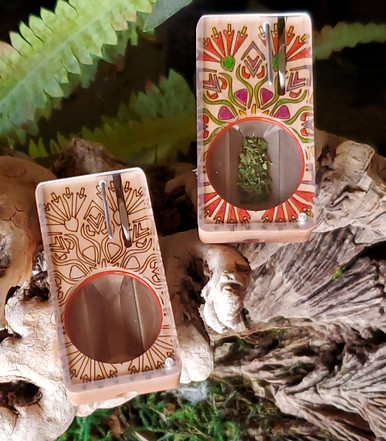 Wood-etched on Maple and possible vibrant creative inspiration at home on right