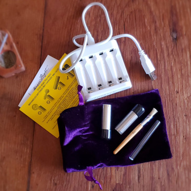 FLIGHT KIT - 4 Port Battery Charger with USB, 2 Ni-MH 'AA' Rechargeable Batteries with Black Protective Caps, Natural Bristle Brush, Draw Stem   (wall socket plug with USB ~ NOT INCLUDED)