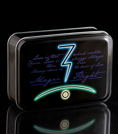 Felt-Lined Tin - closed - Decorated with our glyph and flagship aphorism - Holds kit contents for either the Launch Box or the Muad-Dib Concentrate Box - Great for accessory storage - Magic-Flight