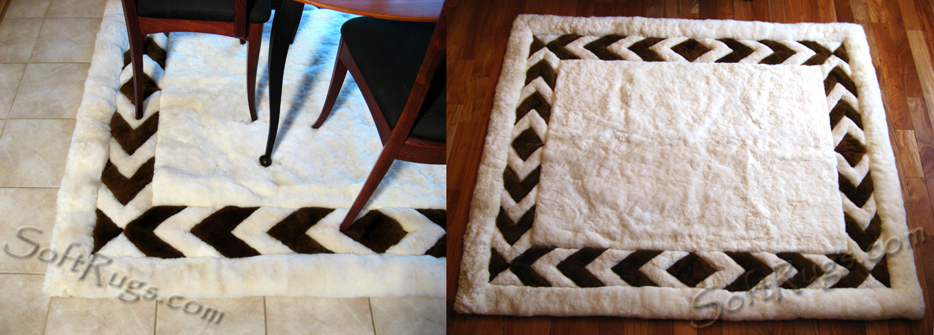 Alpaca fur rug with chevron border in mink brown