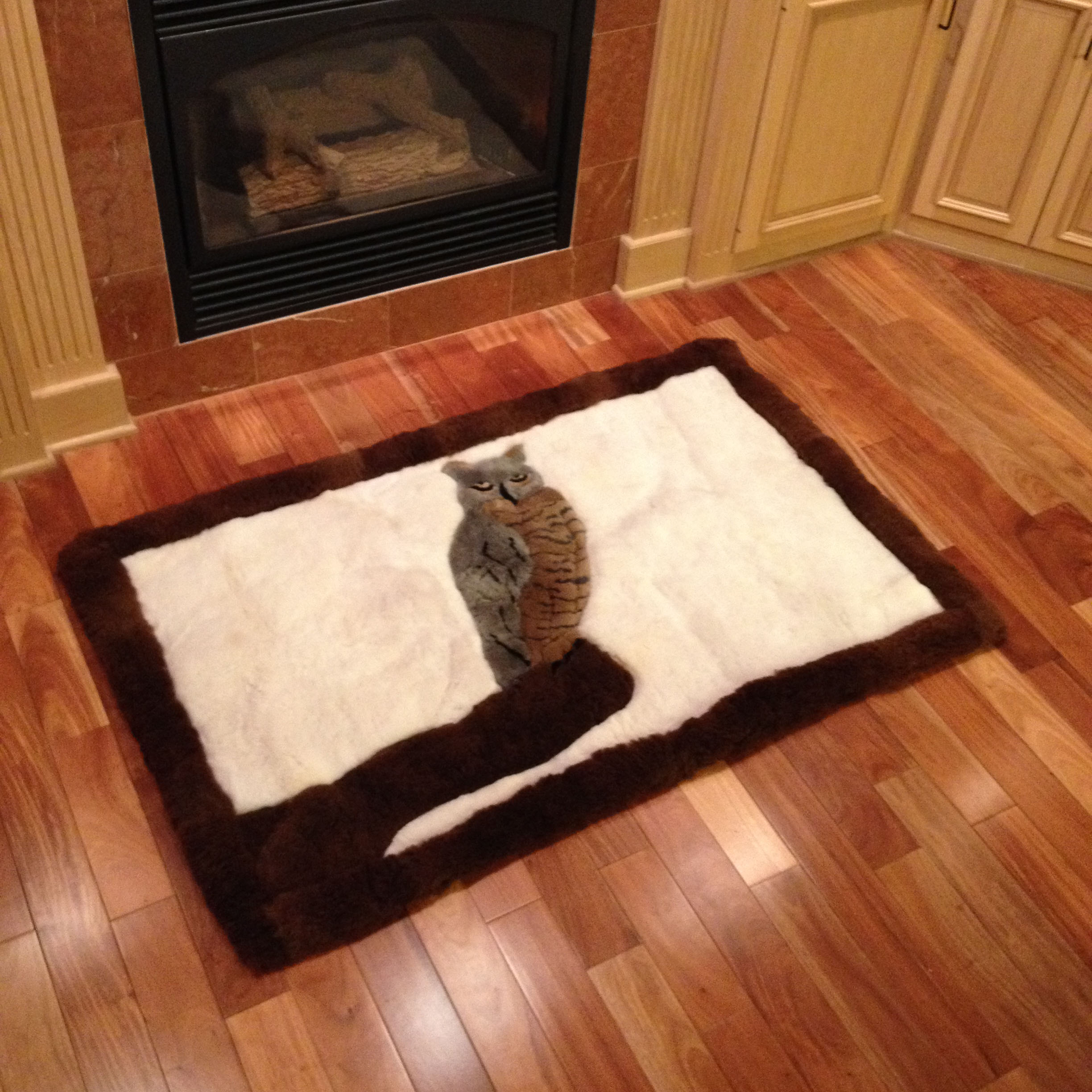 Custom Alpaca Fur Rug with Great Horned Owl Design