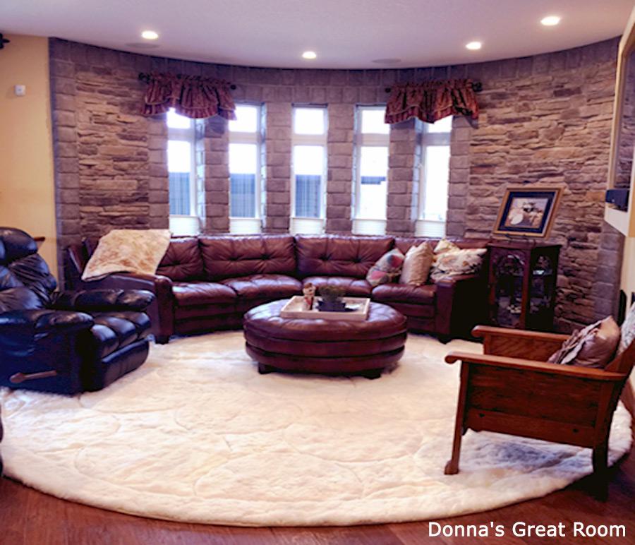 Custom White Alpaca Fur Rug in Great Room