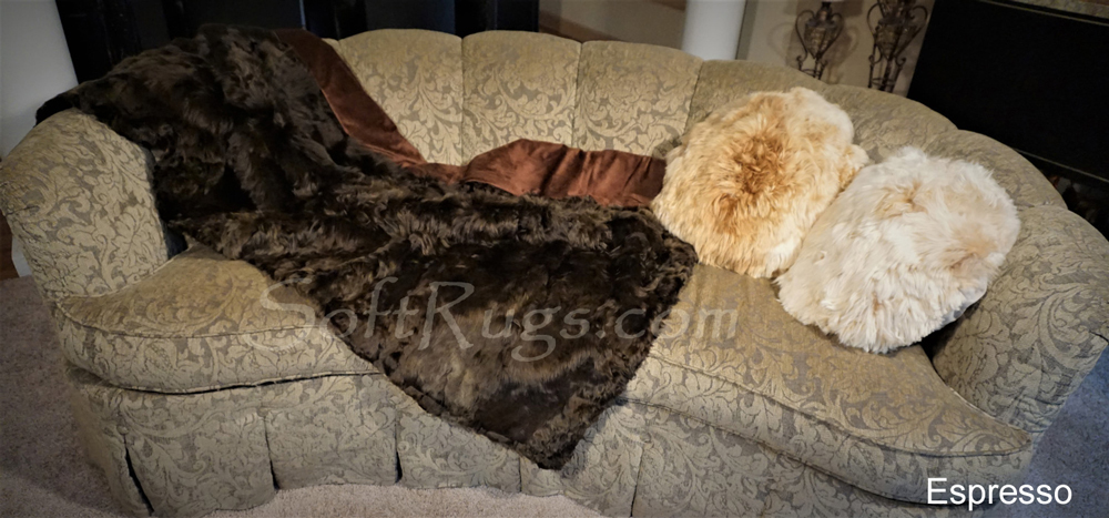 4 x 6 Rectangular Suri Alpaca Fur Throws in Cool Grey and Espresso