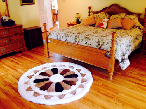 custom round multicolor flower alpaca fur rug