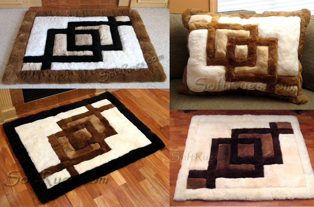 Interlocking Squares pattern rugs and pillows in alpaca fur