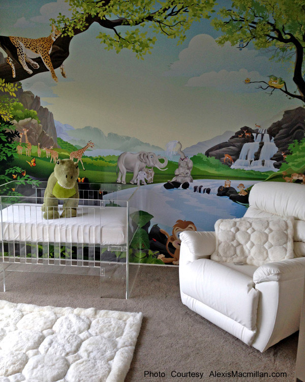 Matching White Puffs Alpaca Pillow and Rug in a Nursery