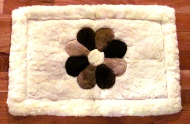 custom alpaca fur rug with flower pattern