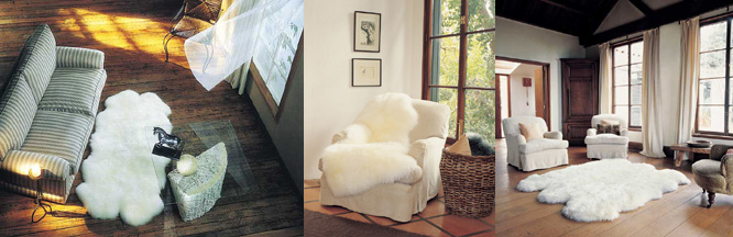 Naturally-shaped longwool sheepskin rugs